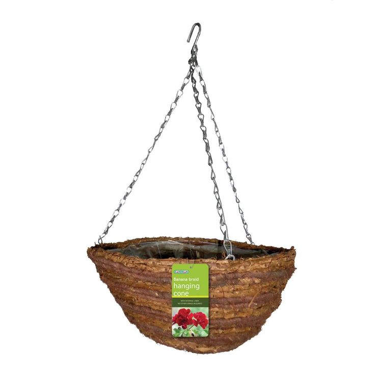 "Gardeman 36cm (14"") Rattan & Corn Rope Hanging Basket #SummerLovin"
