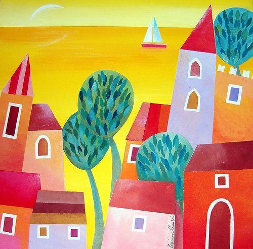 Vie di mare by Tiziana Rinaldi #art #painting #orange #yellow #summer #sea #landscape #sunset