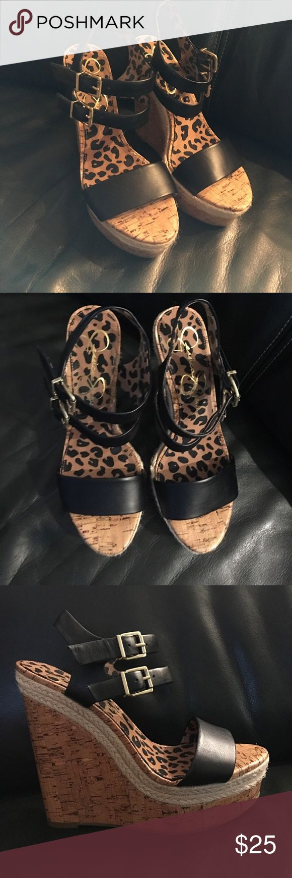 Jessica Simpson Wedge Shoes These are in perfect barley used condition. The straps are Black leather with brass tone buckles. These were worn once. From a smoke free home. Reasonable offers welcome. Jessica Simpson Shoes Platforms