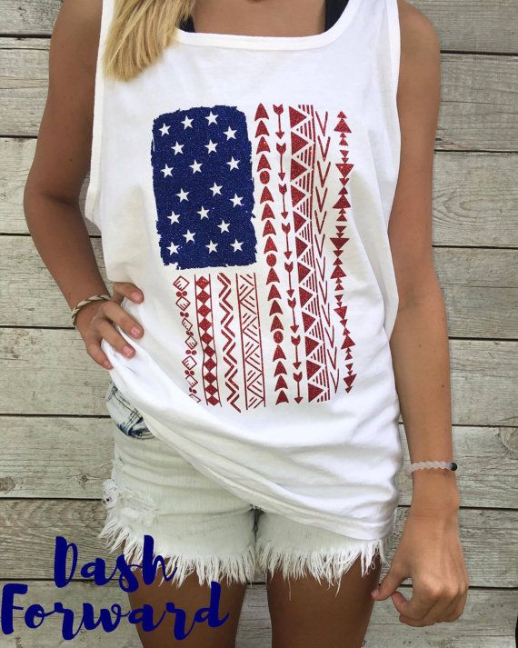 Aztec American Flag Tank/Tshirt Heat Press Vinyl glitter