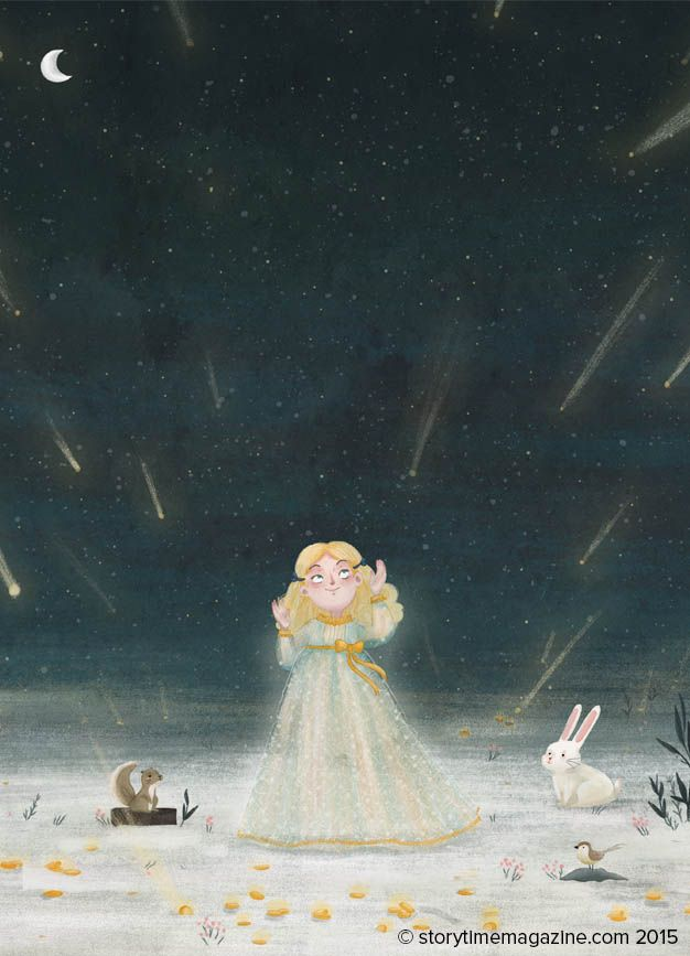 Golden Stars: a touching tale for Storytime Issue 15 about a little girl who gives away everything. Illustrations by Victoria Assanelli (http://www.organisart.co.uk/search.php?artist_id=87) ~ STORYTIMEMAGAZINE.COM