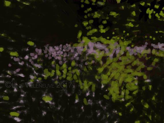 Dessin peinture aquarelle lavis lilas vert noir œuvre