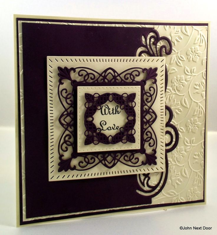 John Next Door     New York Union Square Gemini collection Lyra Creative Expression A4 Rambling Blooms embossing Folder Rich Plum & Milk foundation Card