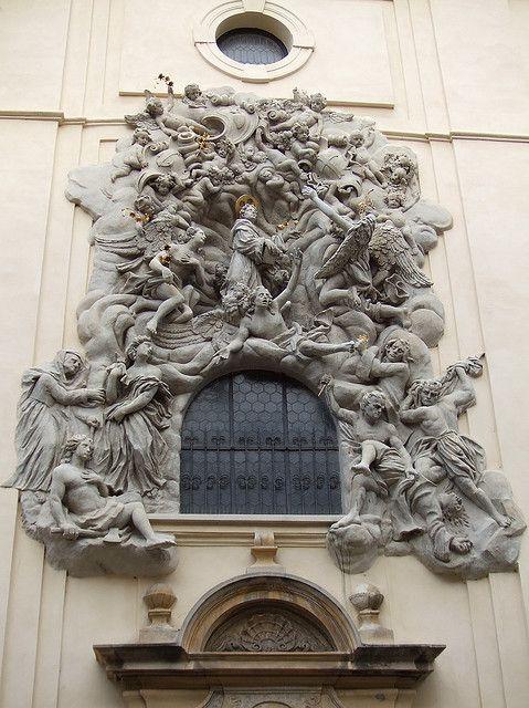 Baroque sculptured window, Prague, Czech Republic