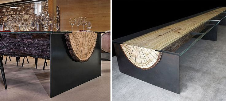 creative-table-design-Wood Log Table