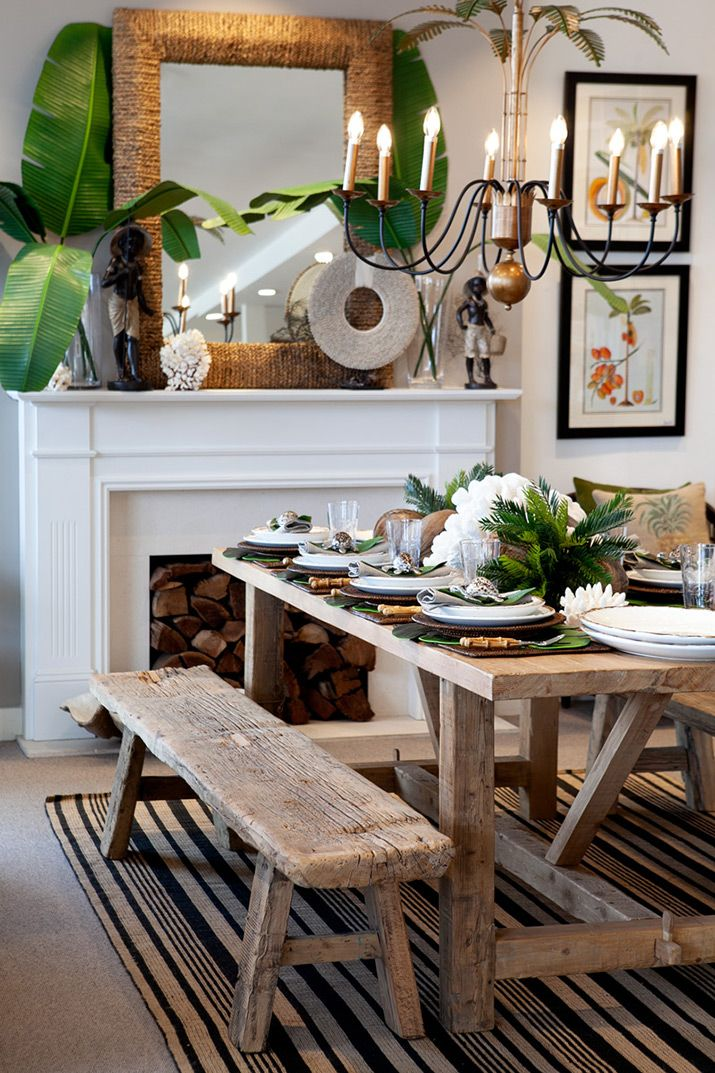 Tropical Dining Table With Bamboo Cutlery Tropical Dining Room Mexican Dining Room Tropical Home Decor