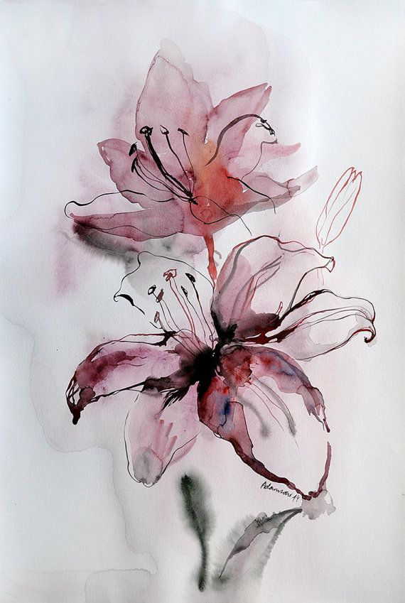 Original Watercolor Painting - Pink Lily. Floral wall art for hotel room or home. Unique present for wedding. Watercolour flower picture.