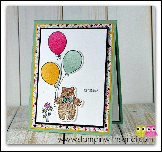 Stampin Up Bear Hugs stamp set, card by Sandi @ www.stampinwithsandi.com