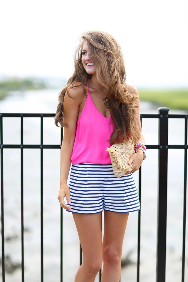 Southern Curls & Pearls: Hot Pink + Stripes