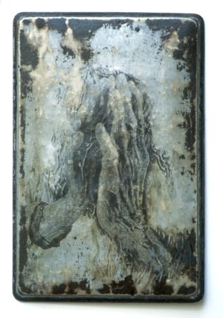 """Hands Touching, 2000, carbon, image transfer, acrylic on metal, 18"""" x 12"""" - Sally Mankus"""