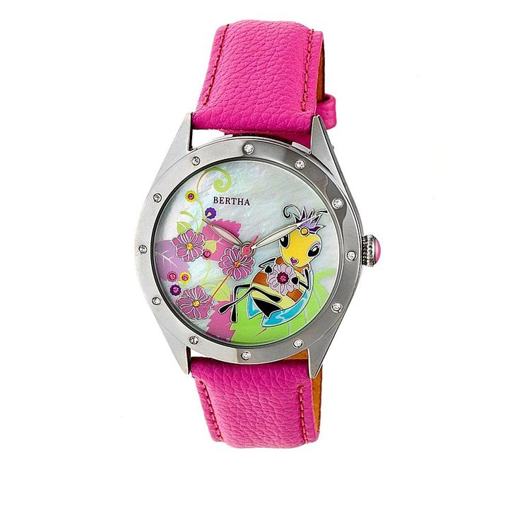 "Bertha Watches ""Ericka"" Bee Dial Leather Strap Watch - Purple"
