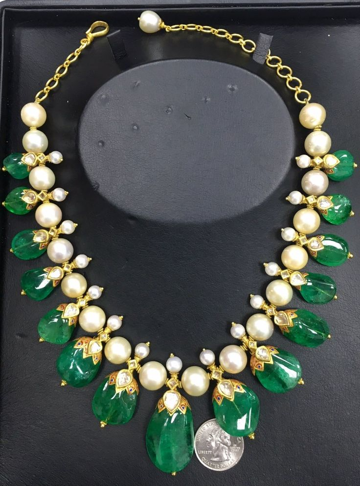 Lot: Gorgeous Indian Colombian Emerald Necklace With Pearls, Lot Number: 0161, Starting Bid: $50,000, Auctioneer: SAJ Auction, Auction: SAJ, Date: September 29th, 2016 BST