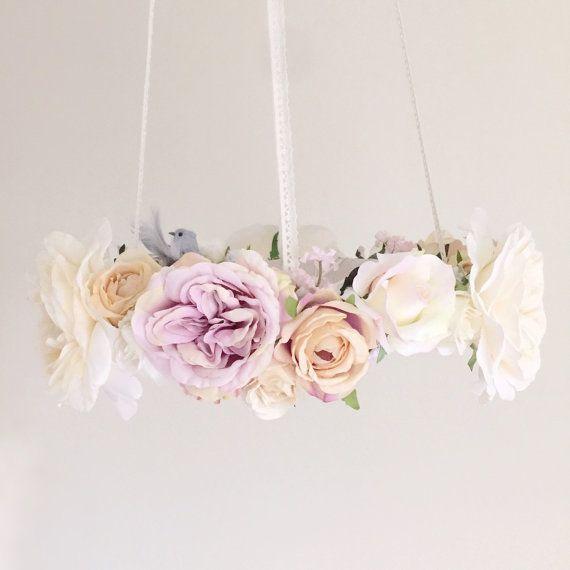 Whimsical dove lavender floral chandelier, bird nursery mobile, baby girl dove flower mobile, purple hanging baby mobile, bird crib mobile by RosyRilli