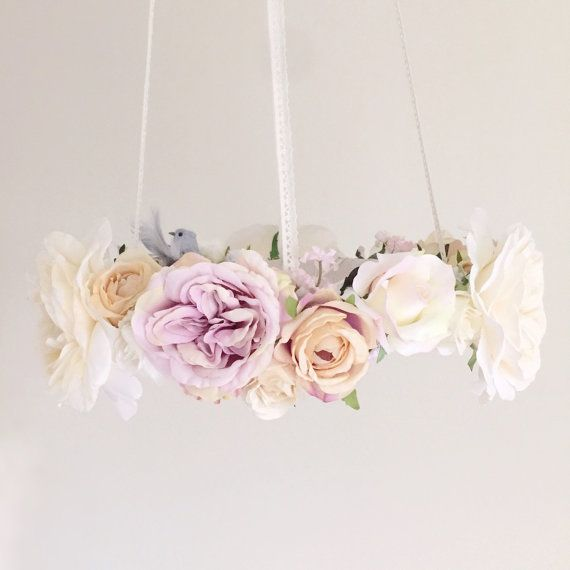Whimsical dove lavender floral chandelier, bird nursery mobile, baby girl dove flower mobile, purple hanging baby mobile, bird crib mobile by RosyRilli