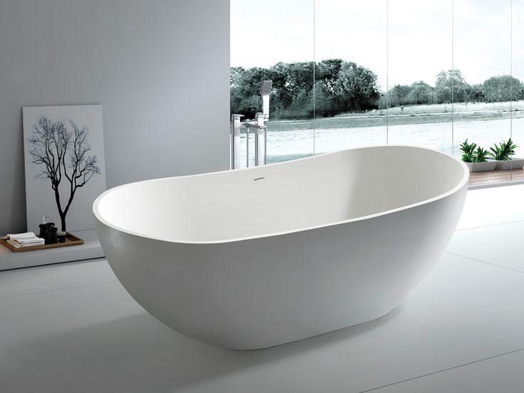 Freistehende Badewanne Treviso Piccolo Aus Mineralguss In Weiß Glänzend.  Form: Freistehend, Oval, Modern, Duo. Material: Mineralguss.