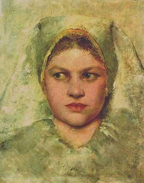Gustav Klimt, Studienkopf einer Hannakin 1894. Study of a head of a Hannakin Measures: 25 x 22 cm Technique: Oil on wood Depository: Unknown