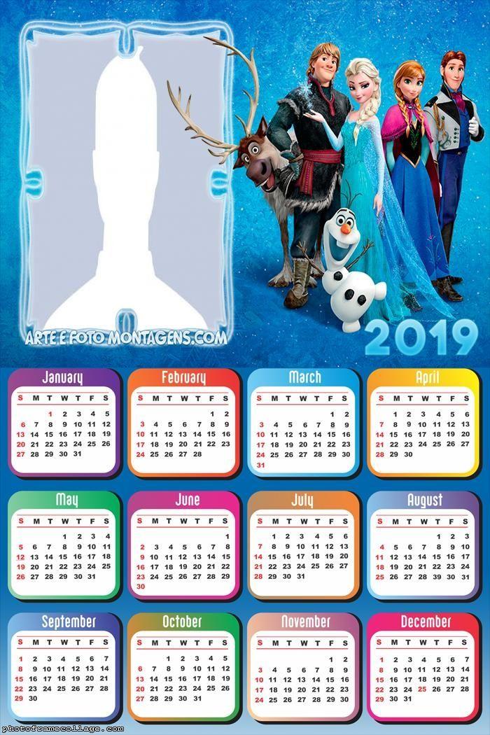 Frozen December Calendar 2019 Printable Frozen Characters Calendar 2019 Frame Photo Montage Free Online