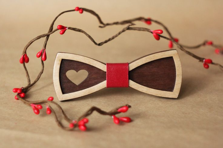 Women Bow Tie with heart and red leather. Little 3D Bow-ties for women and kids…