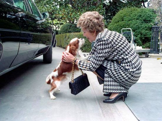 At Home With Presidential Families - Traditional Home® President Ronald Reagan, 1981-1989 First Lady Nancy Reagan cuddles with her dog Rex at the formal Diplomatic Entrance of the White House in April 1986.  Photograph courtesy of the Ronald Reagan Presidential Library