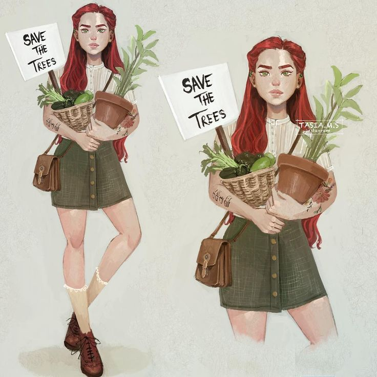 Poison Ivy  my version I drew her as a cute plant mom, who likes vintage clothes, gardening and saving trees