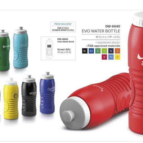 Evo Water Bottle - 500ml suplied by Best Branding. 9 bright colours to choose from, manufactured locally allowing short replenishing times. Awesome groovy design and finger grippers. Push-pull spout and wide screw-lid for easy cleaning, filling. BPA free. Custom colours available on request. FDA approved materials. 500ml. FREE 1 COLOUR 1 POSTION branding. Setup cost applies.