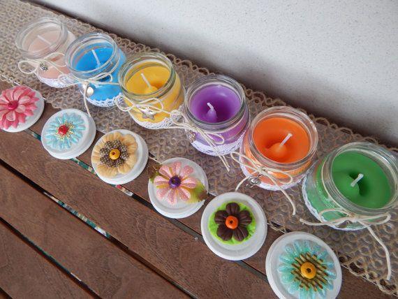 Candele colorate - Set da 6 vasetti in vetro decorati per Battesimo - Comunione - Primavera, by Luci del Nord, 21,00 € su misshobby.com