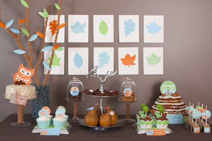 Woodland Sip and See Owl Dessert Table Overall Woodland Sip & See Guest Dessert Feature
