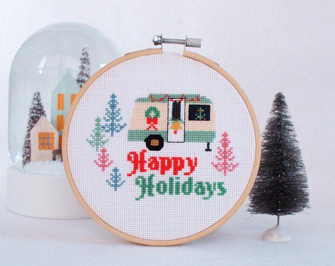 Vintage Merry Christmas Cross Stitch Pattern