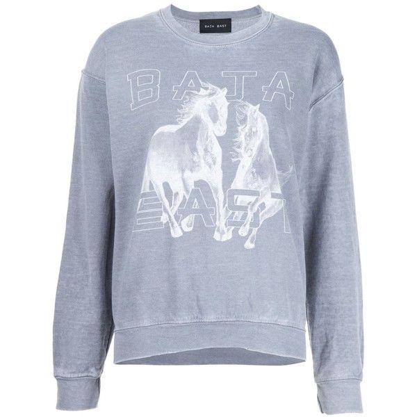 Baja East horse print sweatshirt ($255) ❤ liked on Polyvore featuring tops, hoodies, sweatshirts, grey, grey sweatshirt, horse sweatshirt, grey top, gray sweatshirt and gray top