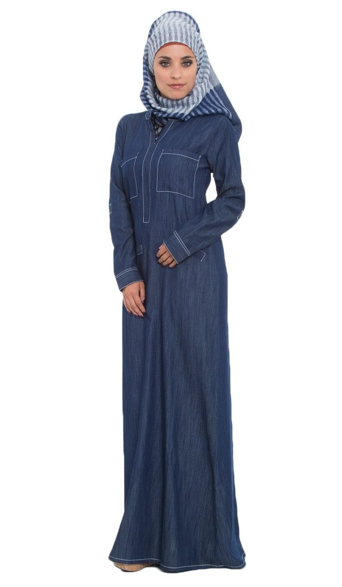 Denim Maxi Dress | Blue Denim Maxi Dress with Adjustable Sleeves | kaftans, maxi dresses ...