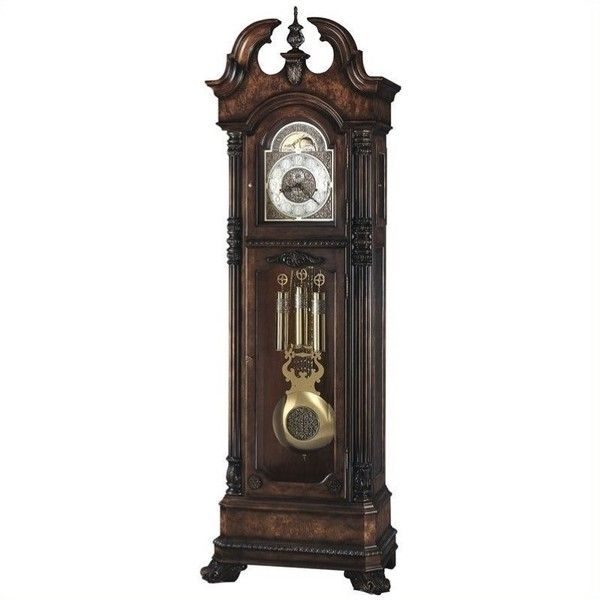 Howard Miller Reagan Grandfather Clock (9,935 CAD) ❤ liked on Polyvore featuring home, home decor, clocks, cherry, pendulum clock, howard miller grandfather clock, door plates, cable plate and engraved plates