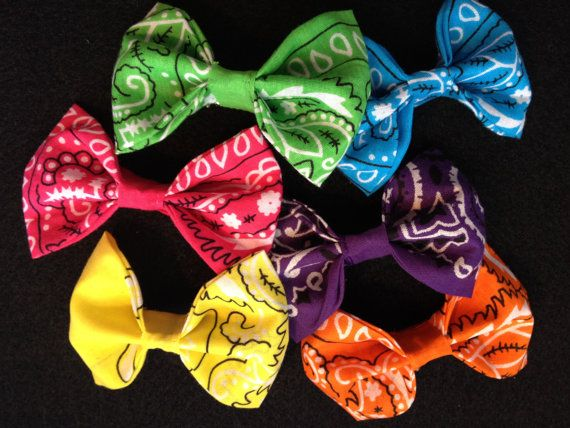 Free Shipping BANDANA  BOW hair CLIP Large and Small on Etsy, $4.00