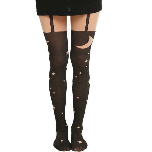 LOVEsick Moon Stars Faux Thigh High Tights Hot Topic (£8.66) ❤ liked on Polyvore featuring intimates, hosiery, tights, nylon pantyhose, thigh high pantyhose, nylon stockings, thigh-high tights and nylon hosiery