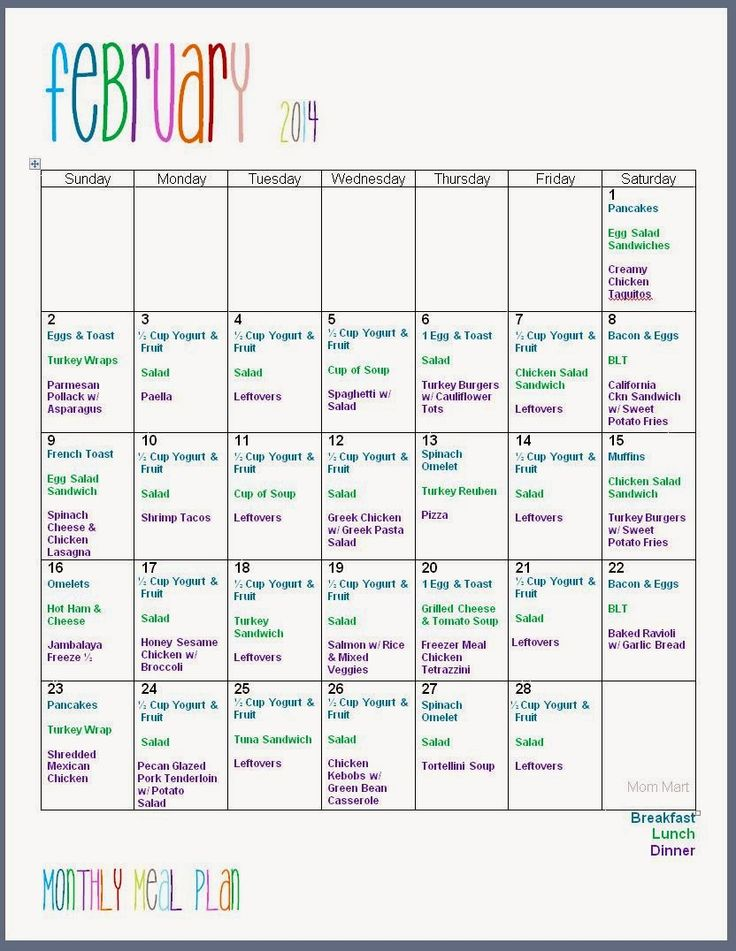 February 2014 Monthly Meal Plan #FreePrintable | Meal ...