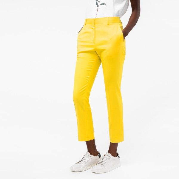 Paul Smith Women's Slim-Fit Yellow Wool Trousers ($310) ❤ liked on Polyvore featuring pants, white trousers, zipper trousers, paul smith, white pants and yellow pants