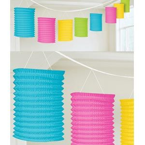 A22055/90 - Lantern Garland Multi Colour. 3.65m Lantern Garland Multi Colour Contains 8 x paper lanterns (10cm x 16cm) on a garland (3.65m)  Please note: approx. 14 day delivery