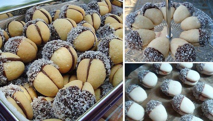 Pamlsek veverky plněný meruňkovou marmeládou, obalený v čokoládě a kokosu. Jemné a křehké pečivo a k němu káva nebo čaj.