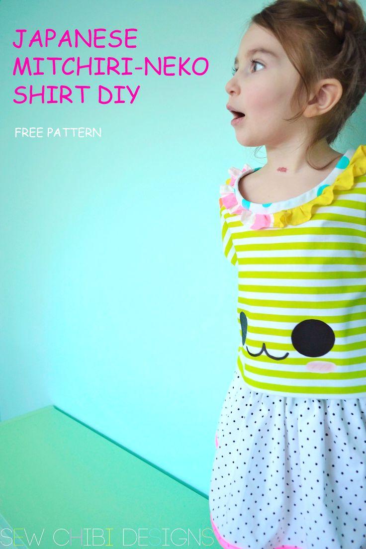 Japanese Mitchiri Neko Shirt DIY with Free pattern