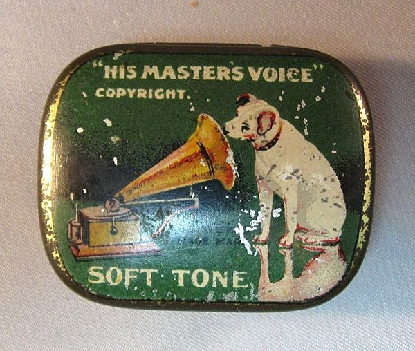 """Vintage needle tin with """"Nipper"""" the RCA Victor mascot."""