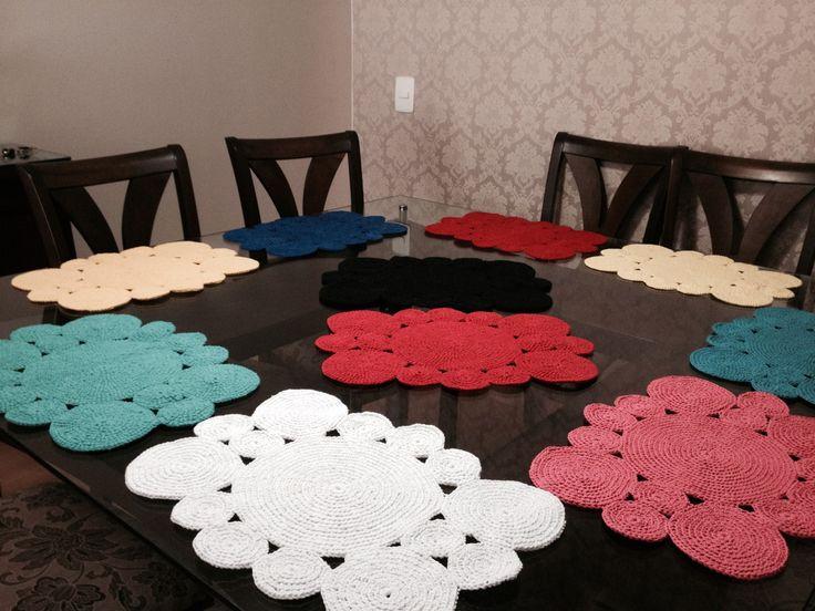 Jogo americano em crochê - cores variadas sob encomenda.