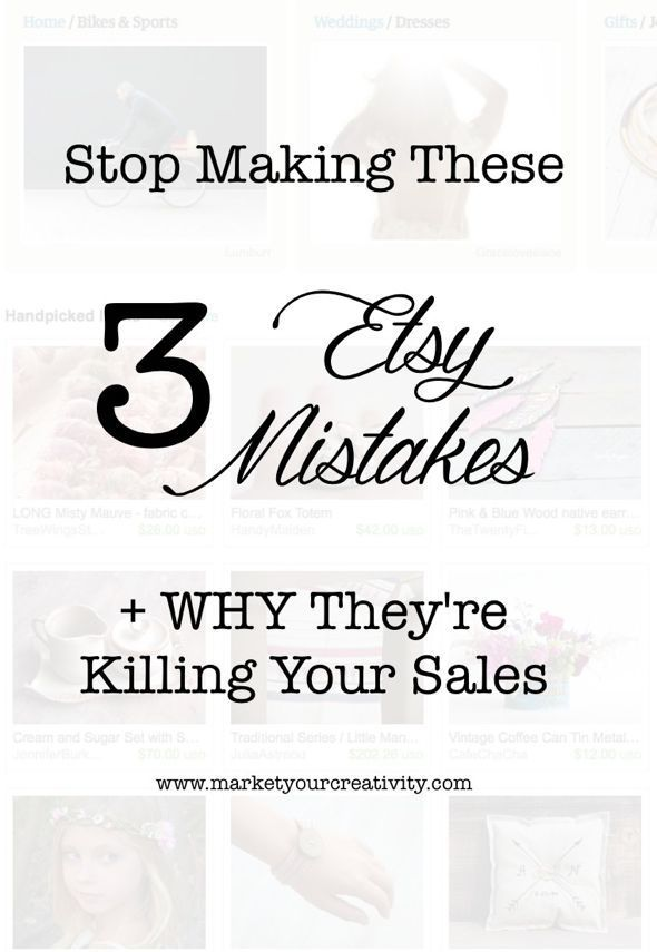 I love selling on Etsy, and I coach many creative colleagues to open shop there as well. However, it's all too often that I find my clients repeating these common mistakes, and it's killing their s...