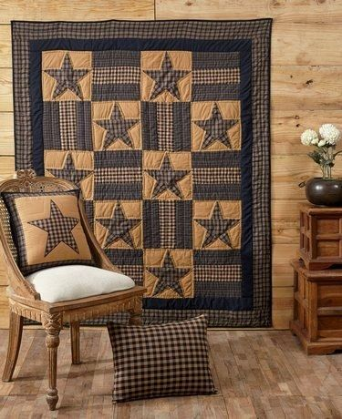 Warm up under our Teton Star quilted throw when the nights are cool and chilly! Pair it with other coordinating items here at Primitive Star Quilt Shop.