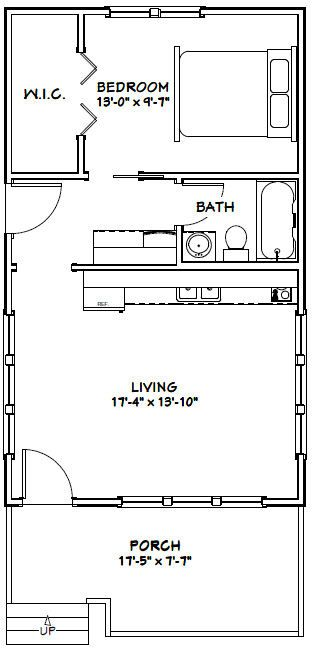 18x30 Tiny House -- #18X30H1 -- 540 sq ft - Excellent Floor Plans