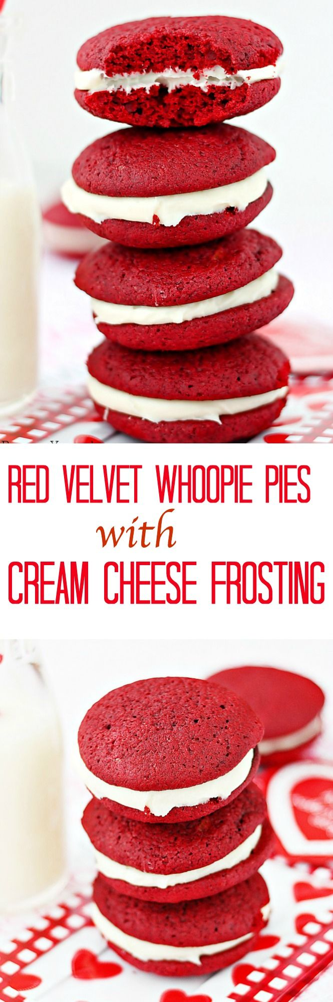 Red velvet whoopie pies with cream cheese frosting - Soft, cake-like red velvet cookies sandwiched with a smooth sweet cream cheese frosting