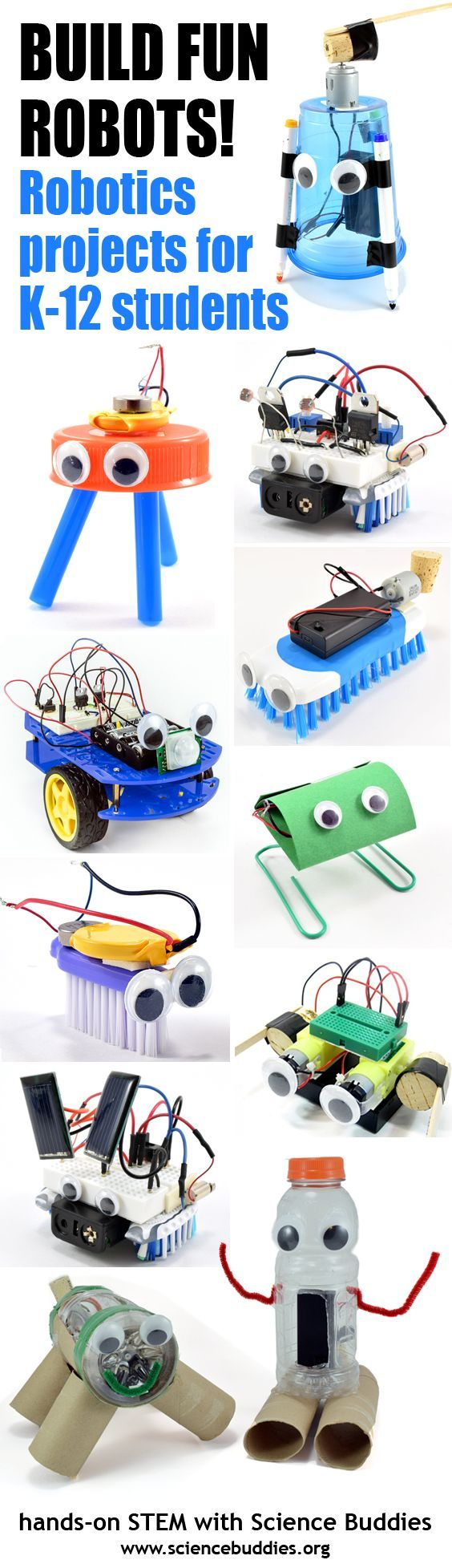 Explore student #robotics projects, activities, kits, and lesson plans. [Science Buddies, http://www.sciencebuddies.org/blog/2017/04/build-fun-robots-with-students.php?from=Pinterest] #STEM #roboweek