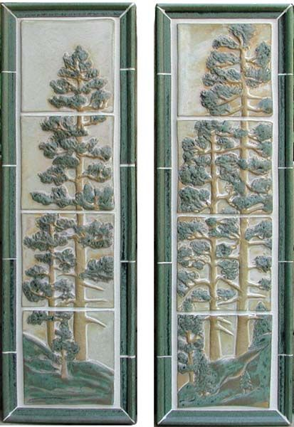 Pine Tree Tile Panels. This photo shows the Stoney Matte White with Green Glaze. All murals are available in each glaze.