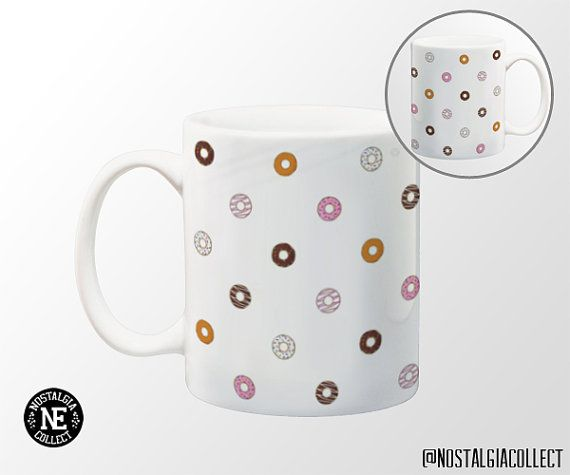 Donut Patterned Coffee Mug  11 oz Coffee Mug  by NostalgiaCollect