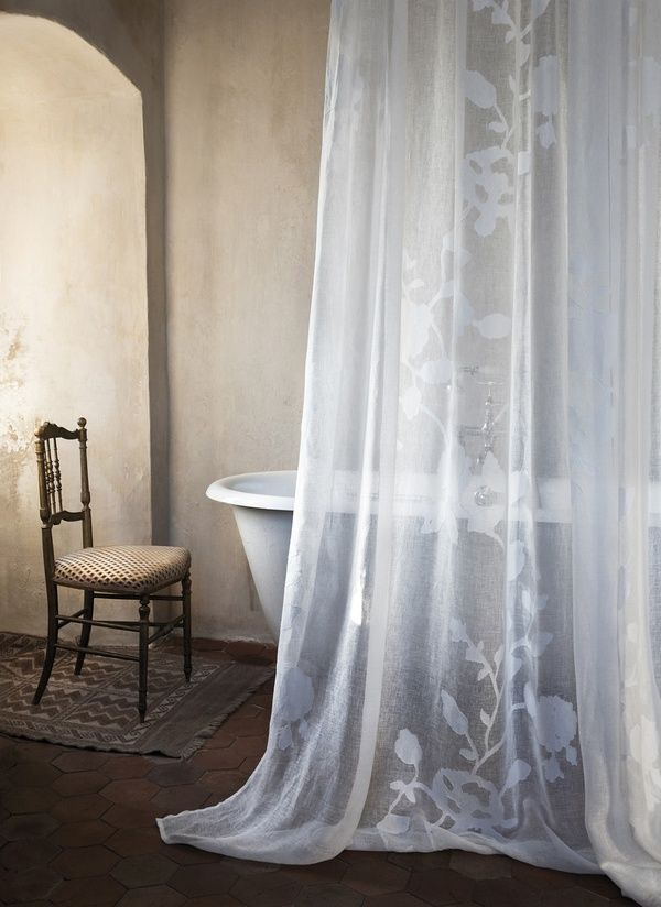 The Simply Luxurious Life: The Weekend . . .Modern Bathroom Design, Bathroom Curtains, Lace Curtains, Bathtubs, Clawfoot Tubs, Master Bath, Shower Curtains, Bathroom Reno, Design Bathroom