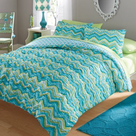 your zone ruched chevron bedding comforter and sham set, Multicolor