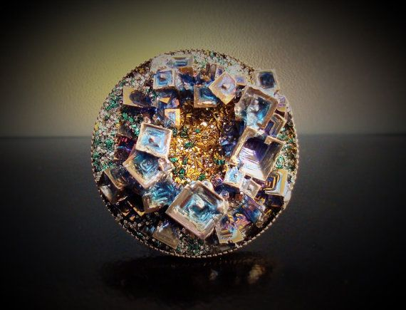 Bismuth Crystal in a Silver Plated Ring - Iridescent Bismuth Metal Crystal Jewelry - Unique Fractal Ring - Gift for Scientist - Bismuth ring